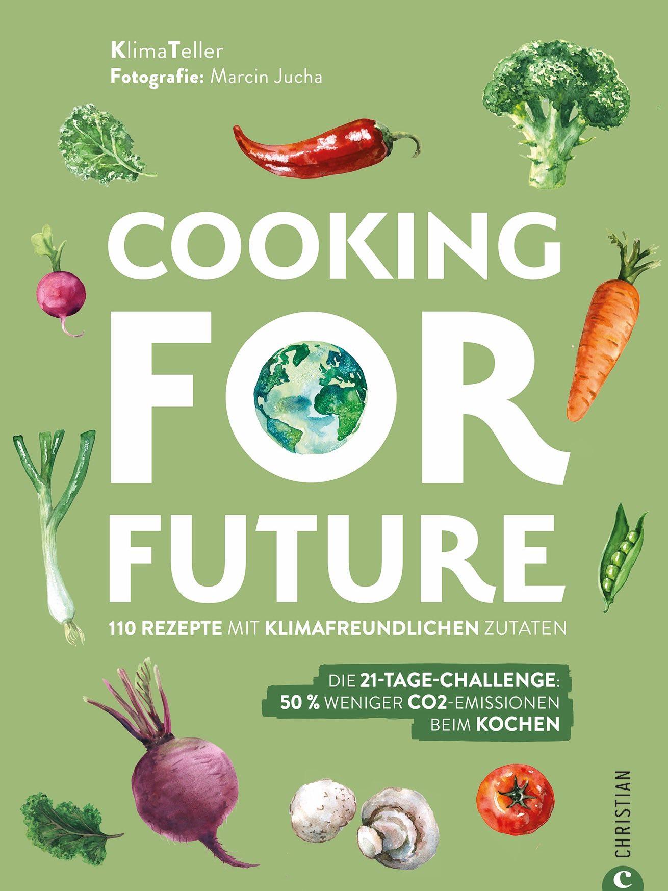 Grünes Buchcover von Kochbuch Cooking for Future
